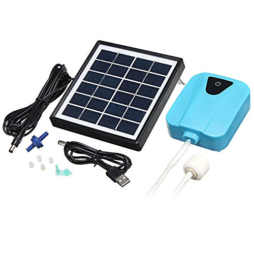 Lightweight Compact 2L/min Solar Power Aquarium Oxygen Pump Water Aerator Oxygenator Rechargeable Air Pump with Air Stone Pond Aerators for Fish - 2l Lithium Light