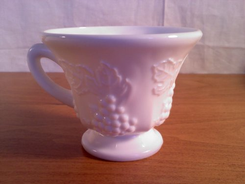 White Milk Glass Punch Cup Grape Design, Vintage