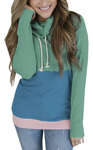 womens cowl neck stitching striped patchwork pullover