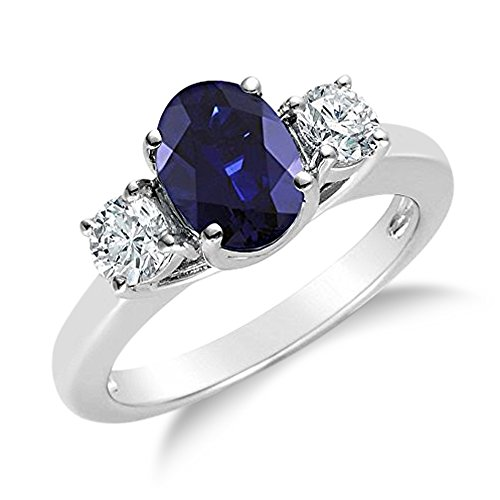 Ring Stone Genuine (Voss+Agin 2.00CTW Genuine Diamond and Oval Sapphire 3 Stone Ring in 14k White Gold (7.5))