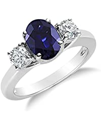 2.00CTW Genuine Diamond and Oval Sapphire 3 Stone Ring in 14k White Gold