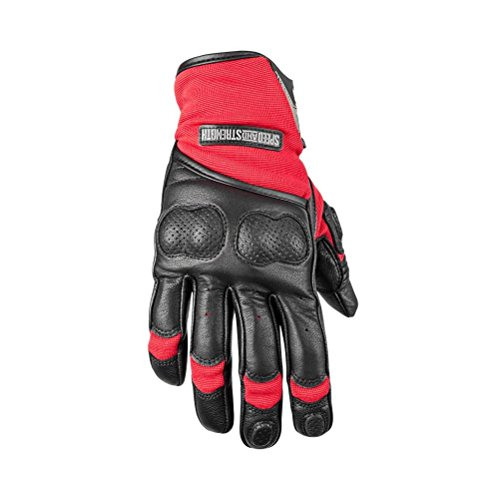 Speed and Strength Tough As Nails 2.0 Men's Leather/Textile Street Racing Motorcycle Gloves - Red/Black / X-Large