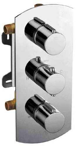 Shower Mixer Bath Round (ALFI brand AB4001 Concealed 3-Way Thermostatic Valve Shower Mixer Round Knobs, Polished Chrome)