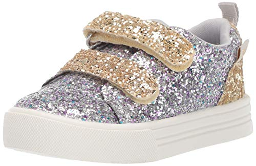 OshKosh B'Gosh Lyric Girl's Glittery Casual Slip-on Sneaker, Silver, 9 M US ()