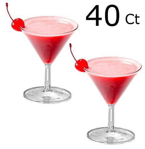 40 Heavy Duty Mini Plastic Martini Glasses Clear Mini