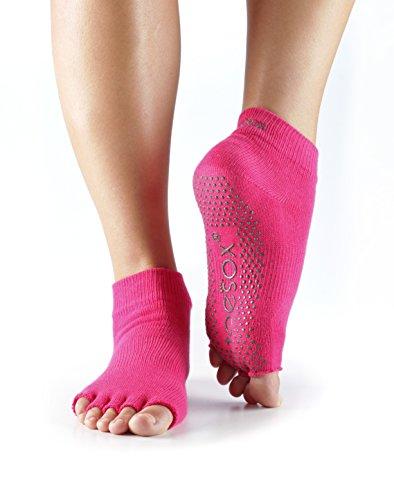 ToeSox Women's Grip Half Toe Ankle Socks, Medium, Fuchsia