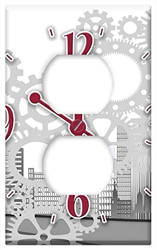 Switch Plate Outlet Cover - Clock Time Skyscrapers City Mechanics Gear Gears ()