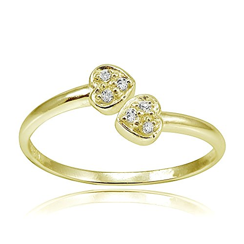 Hoops & Loops Sterling Silver Flash Plated Gold Cubic Zirconia Double Heart Toe Ring ()