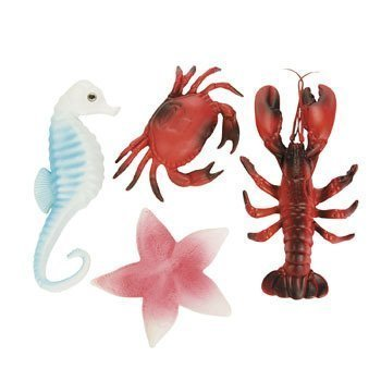 Sea Life Creatures Luau Party Plastic Decor (Pack of 4) Lobster, Seahorse, Crab &  - Decor Lobster