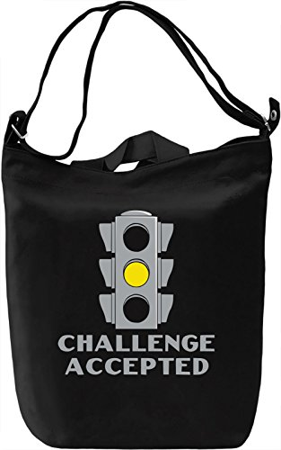 Challenge Accepted Borsa Giornaliera Canvas Canvas Day Bag| 100% Premium Cotton Canvas| DTG Printing|
