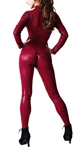 R-Style Splendid Macro Check Pattern Look Zipper Front Cat Suits (Red) (Non Sexy Costumes For Women)
