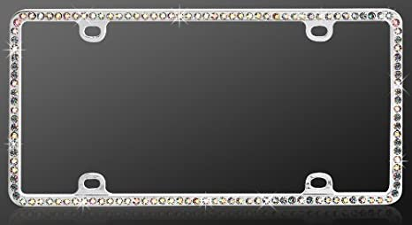 Diamond Plate Rhinestone Single Row Pink Chrome Metal License Plate Frame 1PC