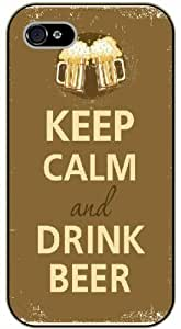 For Iphone 5C Case Cover Keep calm and drink beer, vintage - black plastic case / Keep calm, funny, quotes