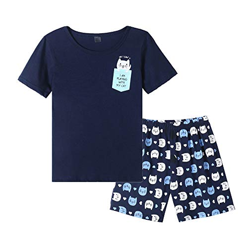 MyFav Young Girls Pajama Cute Cat Pattern Nighty Comfy Shorts Cotton Sleepwear, Pocket Cat, 7 Years