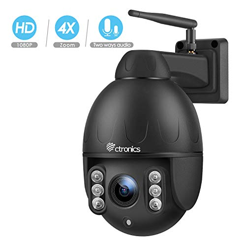 Ctronics PTZ Camera Outdoor,1080P WiFi Security IP Camera,Pan Tilt Zoom(4X Optical Zoom) Dome Camera,Motion Detection,165ft Night Vision,Waterproof IP65,Micro SD Card Up to 128GB(not Included)