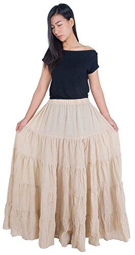 Lannaclothesdesign Women's Cotton Long Ruffle Full Circle Long Skirts Maxi Skirt (Lenght 37 inches, Beige) ()