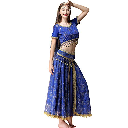 Women's Belly Dance Chiffon Bollywood Costume Indian Dance Outfit Halloween Costumes with Coins 5 Pieces Sets(Blue, X-Large) -