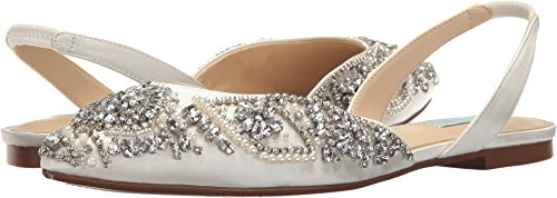 Blue by Betsey Johnson Women's Sb-Molly Pointed Toe Flat, Ivory Satin, 10 M US