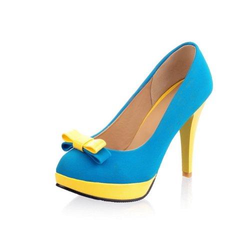 blue bridesmaid dress yellow shoes - 6