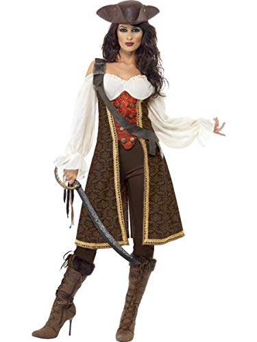 3 PC Caribbean Pirate Captain Off The Shoulder Dress & Pants w/Baldric Costume]()