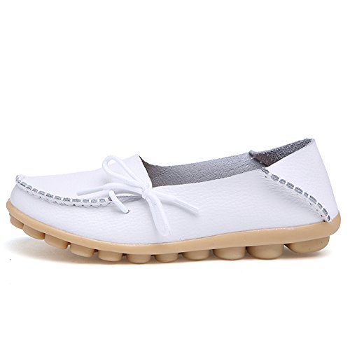 Indoor Genuine Moccasin Womens Casual Flat Slippers Slip CIOR Loafers on Shoes Leather White Driving p85C5q