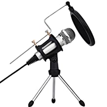 Professional Condenser Microphone, Plug &Play Home Studio for Iphone Android Recording,Podcasting,Online Chatting Such as Facebook,MSN,Skype,Desktop MIC Stand dual-layer acoustic filter