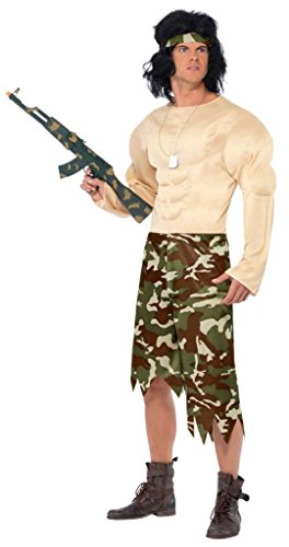 Smiffy's Men's Muscleman Costume with Padded Jumpsuit and Headband, Multi, Large