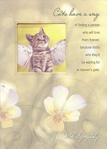 Cat with Wings Die Cut Window - Designer Greetings Pet Sympathy Card Angel Cat Greeting Card