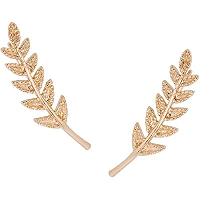 Humble Chic Olive Leaf Ear Climbers - Delicate Crawler Cuff Stud Jacket Earrings