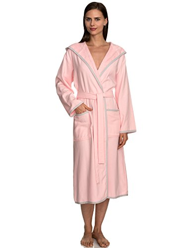 (TowelSelections Women's Robe, Cotton Lined Hooded Terry Bathrobe Small/Medium Pink Dogwood )