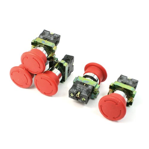 - uxcell 5 Pcs N/C SPST Latching Action Emergency Stop Push Button Switch 10A 600V