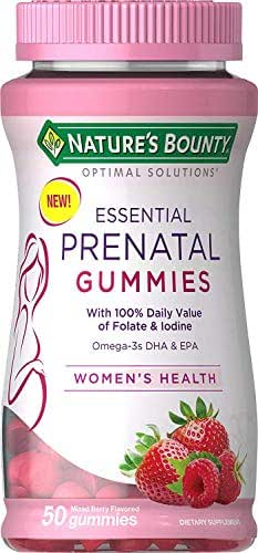 Nature's Bounty Optimal Solutions Essential Prenatal Gummies, Folic Acid and Iodine, Omega 3 and DHA, 50 Count