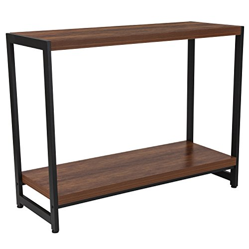 Flash Furniture Grove Hill Collection Rustic Wood Grain Finish Console Table with Black Metal Frame
