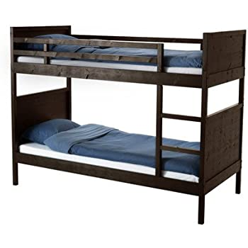 Amazon Com Ikea Twin Size Bunk Bed Frame Black Brown 22210 20292