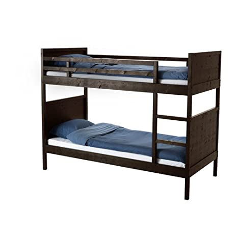 Amazon.com: Ikea Twin size Bunk Bed frame, black-brown 22210.20292 ...