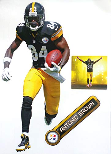 FATHEAD Antonio Brown Pittsburgh Steelers Logo Set Official NFL Vinyl Wall Graphics 17 INCH