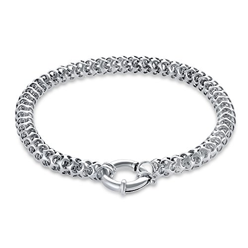 (925 Sterling Silver Bracelets For Women - Designer, Chain Link Bracelet with Charm and Simple-To-Use Clasp - Thick, Bold, Anti-Tarnish Jewelry for Females - Accessories For Dress Up or Casual )