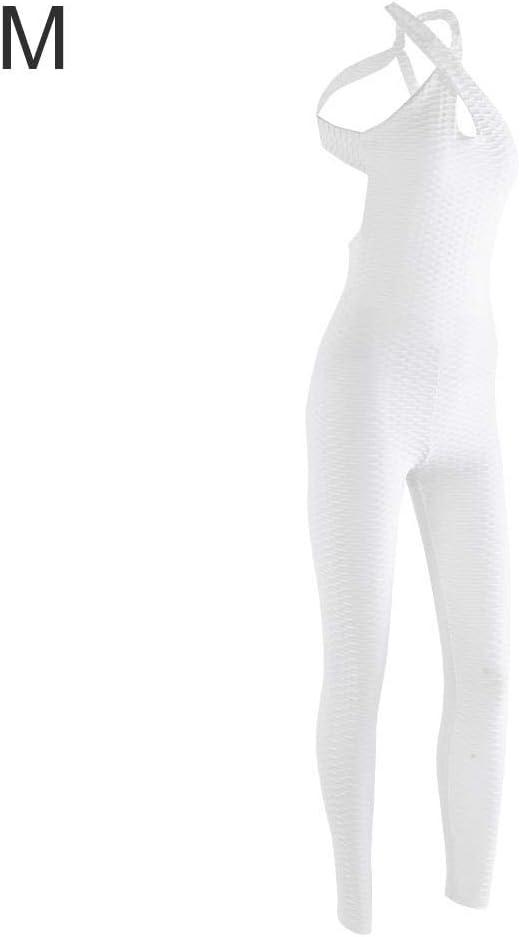 Zerone Femmes Yoga Une Pi/èce sans Manches Scoop Jumpsuit Sports Fitness Combinaison Body Patchwork Longue Combinaison