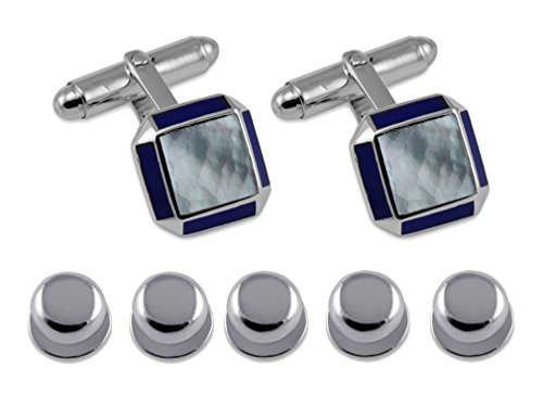 - Sterling Silver Cufflinks Sq MOP with Lapis Edge Shirt Dress Studs Gift Set