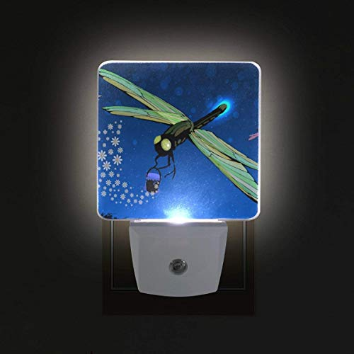 xiaodengyeluwd 2 Pack LED Night Light with Smart Dusk to Dawn Sensor,Dragonfly and Bucket of Blossoms Plug in Night Light Great for Bedroom Bathroom Hallway Stairways Or Any Dark Room]()