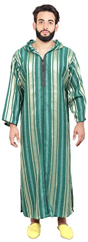 Moroccan Men Clothing Djellaba Handmade and Embroidered Breathable hooded Green Hooded Caftan