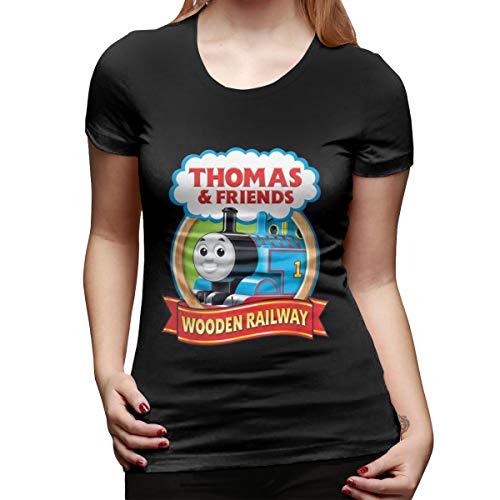 Seuriamin Thomas The Tank Engine & Friends Women Basic Hiking Round Neck Short Sleeve T-Shirt Tops Black ()
