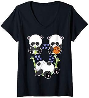 Best Gift Womens Funny Panda Bamboo Eat Sleep Basketball Repeat - Basketball V-Neck  Need Funny TShirt