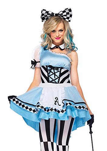 Leg Avenue Women's 3 Piece Psychedelic Alice Costume, Blue/White, Medium
