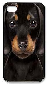 Art Fashion Black PC DIY Case for iPhone 4 Generation Back Cover Case for iPhone 4S with Cute Black Dog