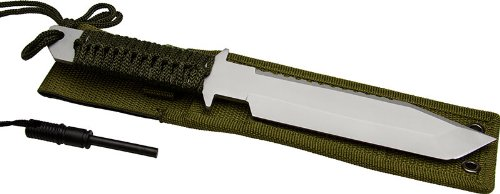 SE Hunting Knife 440 Steel Green Rope On Handle Comes With Fi, Outdoor Stuffs
