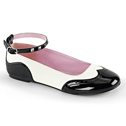 Zapato Plano Demonia Star-22 Para Mujer, Cuero Vegano, Pat-wht, Negro