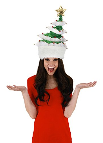 elope Springy White Christmas Tree Hat, Multi-Colored, One Size (Silly Snowman Christmas Costume)