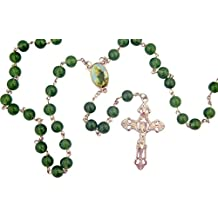 Religious Gifts Glass Prayer Beads Rosary with Color Centerpiece, 23 Inch