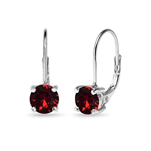 Sterling Silver Dark Red Round-cut Leverback Earrings Made with Swarovski Crystals